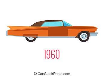 1960s, ícone, retro, veículo, vindima, isolado, car