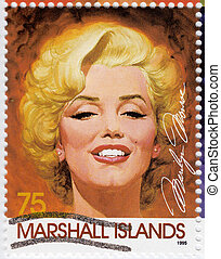 1960s, actriz, marshall, 1995:, estampilla, impreso, 1995, ...