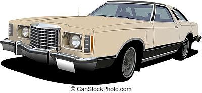 1960\'s light pink sedan on isolated background. Vector...