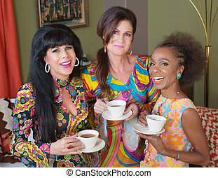 1960s Mature Women - Giggling ladies holding teacups in ...