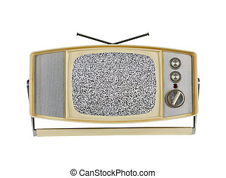 1960's, televisión portable, con, estático, pantalla, y, manija, estante