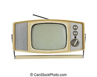 1960's, televisión portable, con, manija, estante