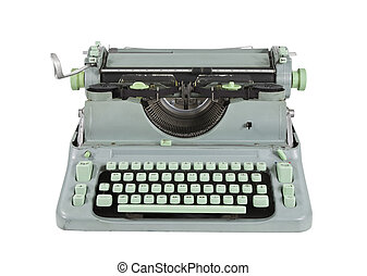 1960's, vendimia, verde, aislado, Máquina de escribir