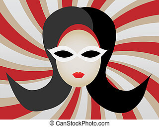 1960s Woman\'s Head inside Swirl vec - Abstract retro mod...