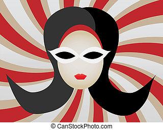 1960s Woman's Head inside Swirl vec - Abstract retro mod gal...