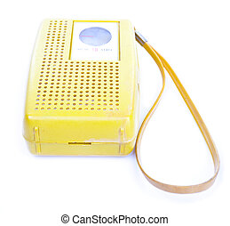 1960's Yellow Plastic Transistor Radio Isolated White