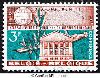 1961:, estampilla, -, 1961, senado, espada, impreso, laurel...