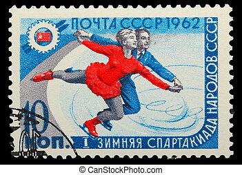 1962:, tél, alak, bélyeg, szovjetúnió, -, 1962, korcsolyázó...