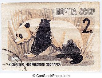 1964, moszkva, panda, bélyeg, hord, nyomtatott, 100th, ...