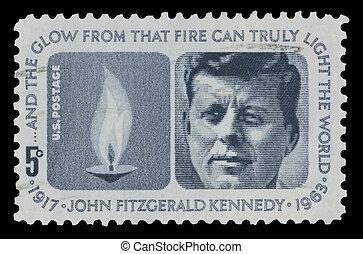 1964, postzegel, gedenkteken, usa, kennedy