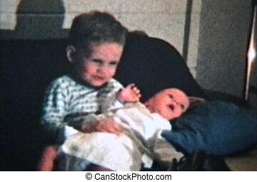 (1964, vendange, 8mm), frère, bébé, nouveau