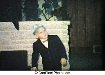 (1965), garçon, peu, rouleaux, plancher