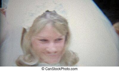 1968: Bride in white getting - Original vintage 8mm film...