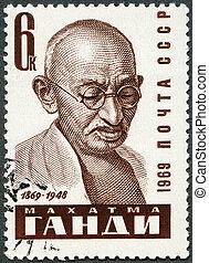 1969, 切手, -, (1869-1948), mohandas, gandhi, ussr, 肖像画, ∥ころ∥, 1969:, ショー, karamchand, 印刷される