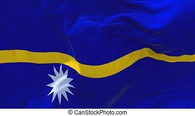 197. Nauru Flag Waving in Wind Continuous Seamless Loop Background.