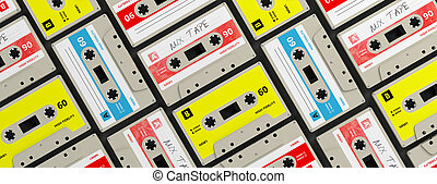 Vintage audio cassettes background, banner. 3d illustration
