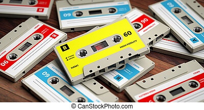 Vintage audio cassettes on wooden background, 3d illustration