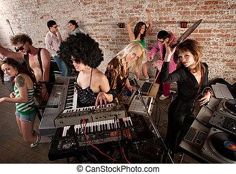 1970s Disco Music Party Fun - Female DJs Rocking a Disco...
