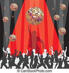 1970's disco party invitation with mirrored ball and dancers