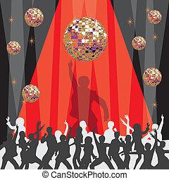 1970's, festa, invito, discoteca
