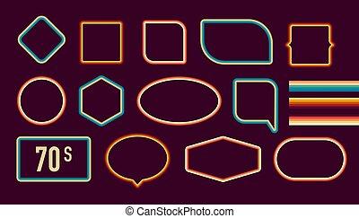 1970s, illustration., vecteur, cadres, borders., 1970s, décoratif, vieux, musée, style, façonné, image, set., artistique, branché