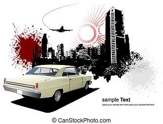 1970\'s Luxury Coupe on grunge urban background. Vector illustration