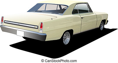 1970\'s Luxury Coupe on isolated background. Vector...