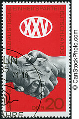 1971:, ∥ころ∥, 切手, germany-, 社会主義者, 記念日, 1971, 統一, ドイツ, 印刷される,...