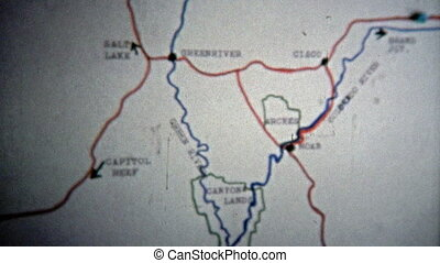 1971: Animated map of route from - Unique vintage 8mm film...