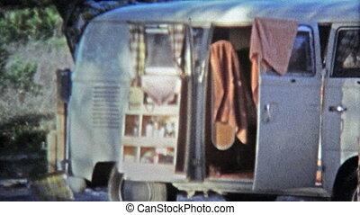 1971: Hippie bus camping on beach