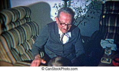 1973: Grandpa tries to love child - 100% unique vintage 8mm...