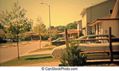 1974: Suburban housing sprawl of - 100% unique vintage 8mm...