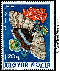 1974:, underwing, catocala, postzegel, hongarije, bedrukt, blauwe , fraxini, -, vlinder, optredens, 1974, circa