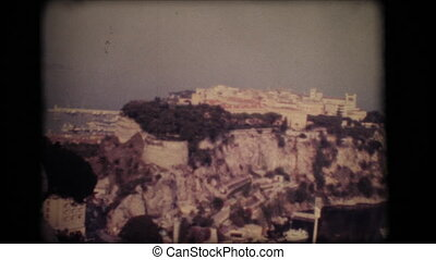 Vintage 8mm. Panoramic view of the old town of Monaco
