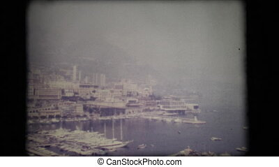 Vintage 8mm. Panoramic view of the port of Monaco