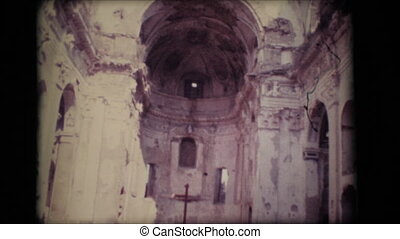 Vintage 8mm. Ruins of an old church in Old Bussana