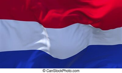 198. Netherlands Flag Waving in Wind Continuous Seamless Loop Background.
