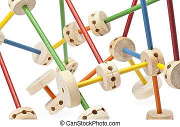198 wooden tinker toys