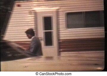 (1980), schulball, junger, geht, mann