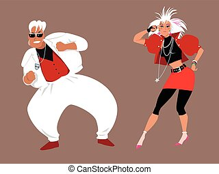 1980s, baile, fiesta