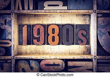 1980s, concepto, tipo, texto impreso