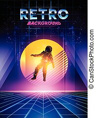 1980's, néon, retro, fond, numérique