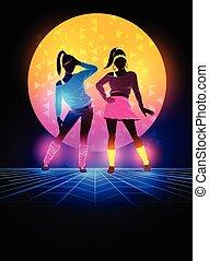1980's, plano de fondo, mujeres, bailarines
