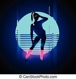 1980's, táncos, retro, glitch