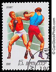 1981, bélyeg, ökölvívás, -, szovjetúnió, két, küzdelem, ...
