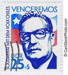 :, 1983, сальвадор, 29-е, печать, показ, -, альенде, чили,...