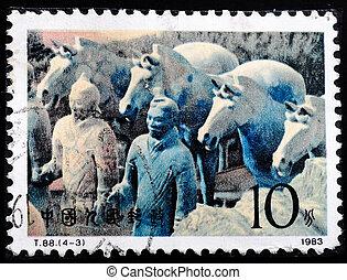 1983, estampilla, guerreros, terracota, -, china, impreso, caballos, hacia, 1983:, exposiciones