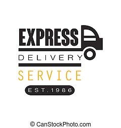 1986, est, service, exprès, illustration, livraison, vecteur, conception, fond, logo, blanc, gabarit