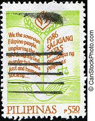 1986, philippines, forfatning, frimærke, philippines, 1986:, trykt, circa, show