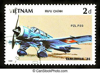 1986, plz.p23), briefmarke, (, -, flugzeug, 1986:, gedruckt,...